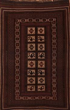 Afghan Kilim Brown Rectangle 6x9 ft Wool Carpet 109166