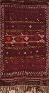 "Kilim Brown Hand Knotted 4'0"" X 7'6""  Area Rug 100-109178"