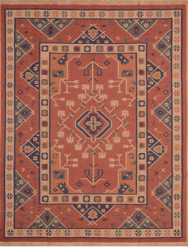 "Kilim Red Flat Woven 7'10"" X 9'0""  Area Rug 100-109185"