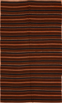 "Kilim Brown Runner Flat Woven 4'11"" X 10'3""  Area Rug 100-109197"