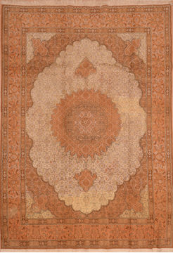 "Mood Beige Hand Knotted 6'8"" X 9'5""  Area Rug 100-109203"
