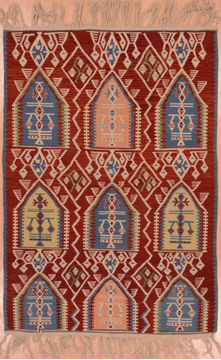 "Kilim Red Flat Woven 3'6"" X 5'0""  Area Rug 100-109232"