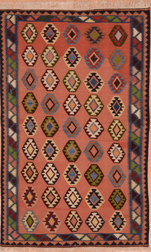 "Kilim Red Flat Woven 4'1"" X 6'3""  Area Rug 100-109234"