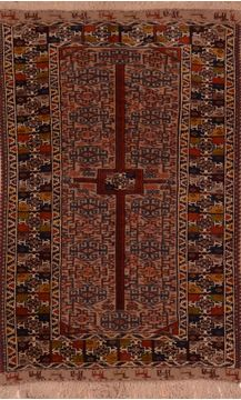 Afghan Kilim Red Rectangle 4x6 ft Wool Carpet 109235