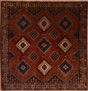 "Yalameh Red Square Hand Knotted 6'8"" X 6'9""  Area Rug 100-109241"