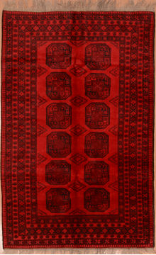 "Khan Mohammadi Red Hand Knotted 5'2"" X 8'1""  Area Rug 100-109258"