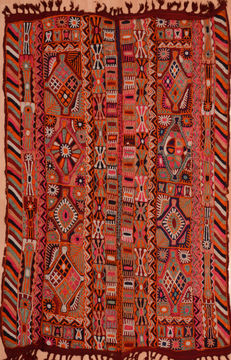 Afghan Kilim Red Rectangle 5x7 ft Wool Carpet 109283