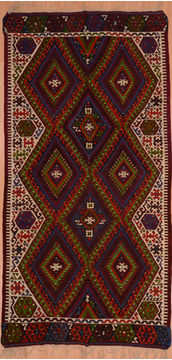 "Kilim Red Flat Woven 4'7"" X 9'3""  Area Rug 100-109284"