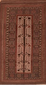 "Kilim Brown Hand Knotted 5'1"" X 9'3""  Area Rug 100-109286"