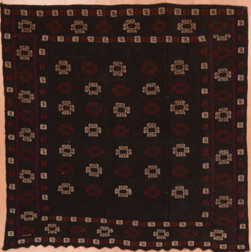 Afghan Kilim Blue Square 4 ft and Smaller Wool Carpet 109289