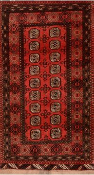 "Khan Mohammadi Red Hand Knotted 3'4"" X 6'2""  Area Rug 100-109293"