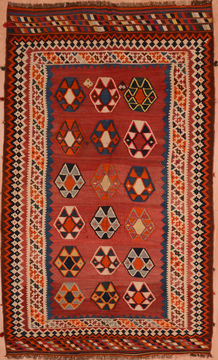 Afghan Kilim Red Rectangle 6x9 ft Wool Carpet 109327