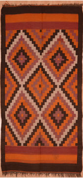 "Kilim Red Runner Flat Woven 4'6"" X 9'5""  Area Rug 100-109328"