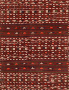 Afghan Kilim Red Rectangle 4x6 ft Wool Carpet 109335