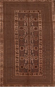 "Kilim Brown Hand Knotted 5'7"" X 8'10""  Area Rug 100-109351"