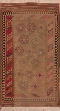Turkish Kilim Green Rectangle 3x4 ft Wool Carpet 109390