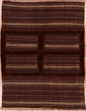 "Kilim Red Square Hand Knotted 3'11"" X 4'6""  Area Rug 100-109391"