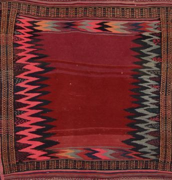 Afghan Kilim Red Square 4 ft and Smaller Wool Carpet 109394