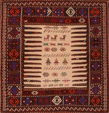 Persian Kilim Red Square 4 ft and Smaller Wool Carpet 109402