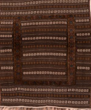 Afghan Kilim Brown Square 4 ft and Smaller Wool Carpet 109403