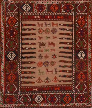 Afghan Kilim Red Square 4 ft and Smaller Wool Carpet 109405