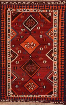 Afghan Kilim Red Rectangle 5x8 ft Wool Carpet 109413