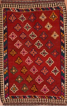 Afghan Kilim Red Rectangle 5x8 ft Wool Carpet 109418