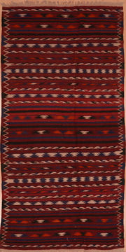 Afghan Kilim Red Runner 10 to 12 ft Wool Carpet 109424