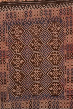 Afghan Kilim Brown Rectangle 7x10 ft Wool Carpet 109426