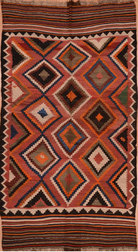 Afghan Kilim Red Rectangle 6x9 ft Wool Carpet 109430