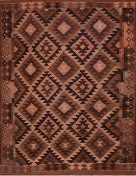 Afghan Kilim Brown Rectangle 7x9 ft Wool Carpet 109436
