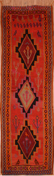 Afghan Kilim Red Runner 10 to 12 ft Wool Carpet 109455