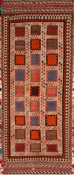 "Kilim Red Runner Hand Knotted 4'1"" X 10'2""  Area Rug 100-109463"