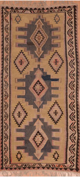"Kilim Brown Runner Flat Woven 4'6"" X 8'10""  Area Rug 100-109465"