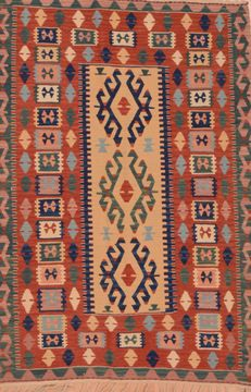 Turkish Kilim Red Rectangle 4x6 ft Wool Carpet 109476