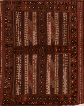 Afghan Kilim Brown Square 4 ft and Smaller Wool Carpet 109478