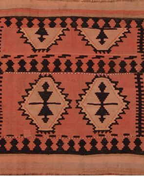 Afghan Kilim Red Rectangle 3x4 ft Wool Carpet 109486