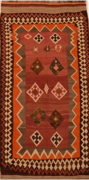 Afghan Kilim Brown Runner 6 to 9 ft Wool Carpet 109490