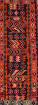Afghan Kilim Red Runner 6 to 9 ft Wool Carpet 109492