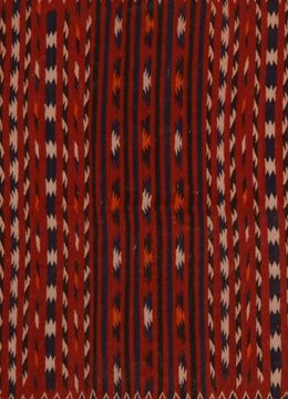 Afghan Kilim Red Runner 6 to 9 ft Wool Carpet 109494