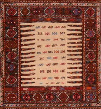 Afghan Kilim Red Square 4 ft and Smaller Wool Carpet 109535