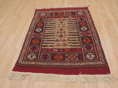 Red Square 4 ft and Smaller Wool Carpet