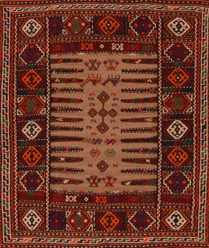 Afghan Kilim Red Square 4 ft and Smaller Wool Carpet 109539
