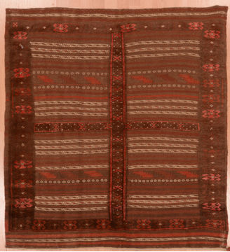 Afghan Kilim Brown Square 4 ft and Smaller Wool Carpet 109569