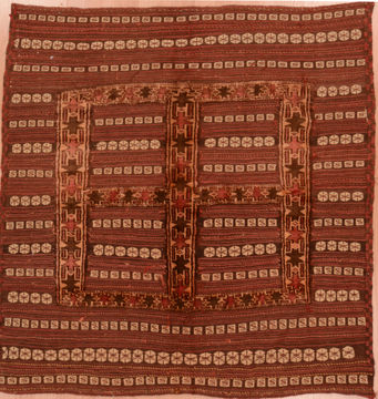 Afghan Kilim Red Square 4 ft and Smaller Wool Carpet 109571