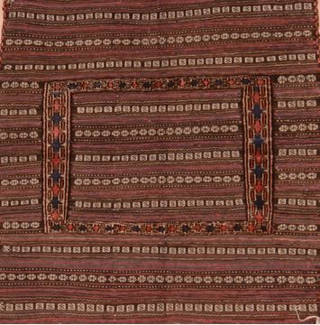 Afghan Kilim Brown Square 4 ft and Smaller Wool Carpet 109578