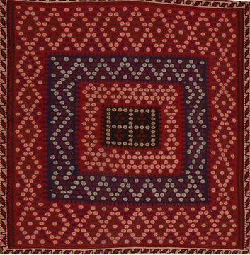 Afghan Kilim Red Square 4 ft and Smaller Wool Carpet 109581