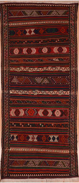 "Kilim Red Runner Flat Woven 4'2"" X 9'4""  Area Rug 100-109592"