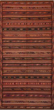 "Kilim Red Runner Flat Woven 4'8"" X 9'7""  Area Rug 100-109611"