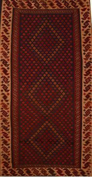 "Kilim Red Runner Flat Woven 5'5"" X 9'7""  Area Rug 100-109614"